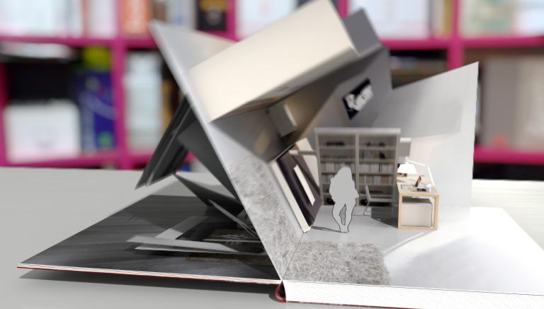 Spot pubblicitario in grafica 3D animata di un libro pop-up
