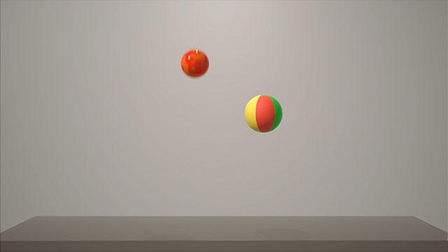 Animazione cartoon di due palle di peso diverso