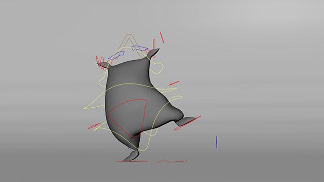Character animation di un sacco e i controlli necessari per animarlo
