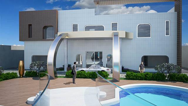 visualizzazione architettonica 3D dell'esterno di una villa
