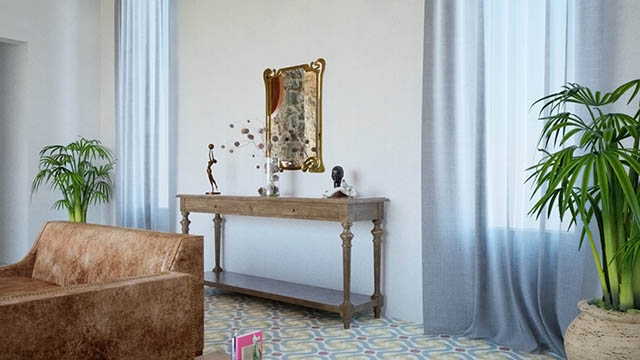 Visualizzazione 3D dell'interno di un abitazione rustica
