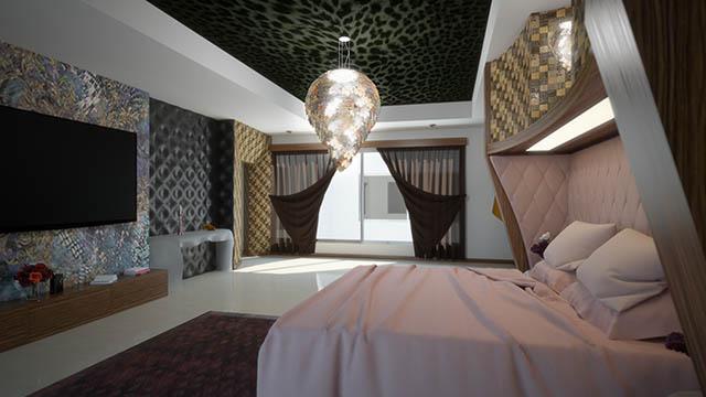 Visualizzazione architettonica 3D del rendering di una camera da letto