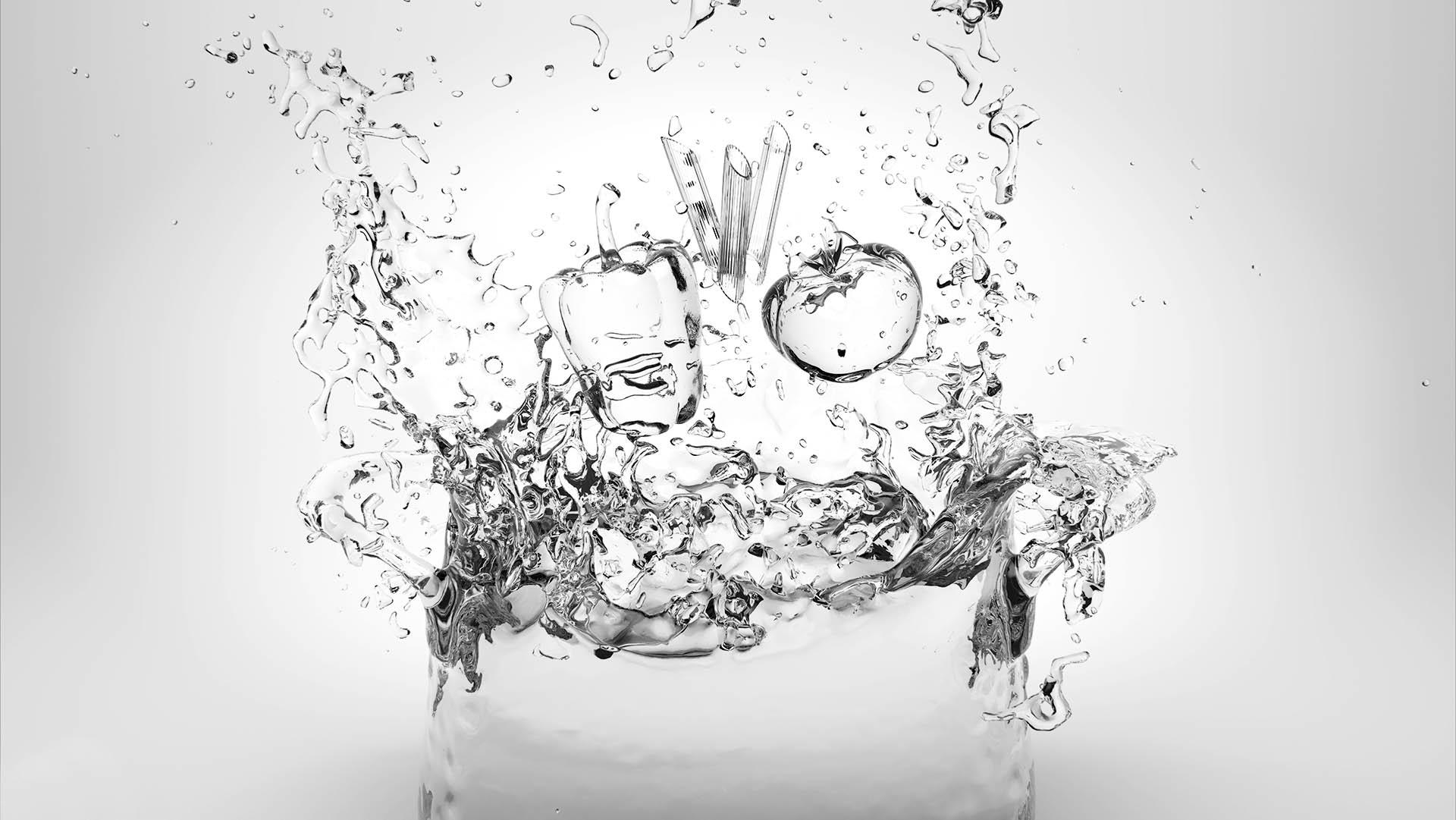 Spot pubblicitario in 3D con simulazione di liquidi