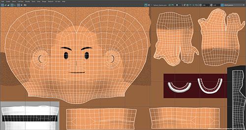 Uv e texturing di modello 3d da animare